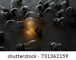 glowing light bulb between... | Shutterstock . vector #731362159