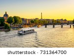 sunset view of eiffel tower ... | Shutterstock . vector #731364700