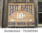 a wooden hot bath sign from the ... | Shutterstock . vector #731365564