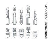 set of military missiles and... | Shutterstock .eps vector #731370034