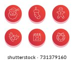 christmas icon set. flat line... | Shutterstock .eps vector #731379160