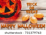 happy halloween text concept.... | Shutterstock . vector #731379763