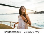 a beautiful latin girl on a... | Shutterstock . vector #731379799