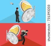 thief running out of a bank... | Shutterstock . vector #731393203