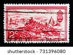 Small photo of MOSCOW, RUSSIA - OCTOBER 1, 2017: A stamp printed in South Africa shows T. Baines : The British Settlers Landing in Algoa Bay, 10th Anniversary of Republic serie, circa 1971