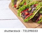 traditional mexican tacos with... | Shutterstock . vector #731398333