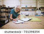 senior businesswoman is doing... | Shutterstock . vector #731398354