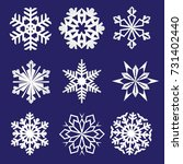 set of snowflakes. fine winter... | Shutterstock .eps vector #731402440