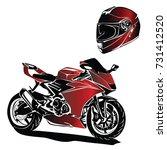 helmet motorbike vector | Shutterstock .eps vector #731412520