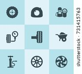 set of 9 tire filled icons such ... | Shutterstock .eps vector #731415763