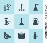 set of 9 pump filled icons such ...   Shutterstock .eps vector #731415964