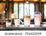 cold coffee latte macchiato ... | Shutterstock . vector #731422249
