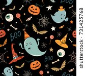 halloween seamless pattern with ... | Shutterstock .eps vector #731425768