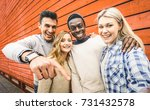happy multiracial friends group ... | Shutterstock . vector #731432578