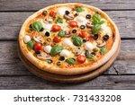 italian pizza with mozzarella   ... | Shutterstock . vector #731433208
