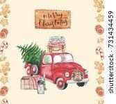 merry christmas. stylish... | Shutterstock . vector #731434459