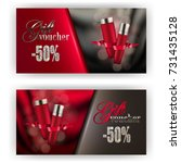 set of gift vouchers with... | Shutterstock .eps vector #731435128
