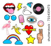 set of colorful stickers.... | Shutterstock .eps vector #731435473