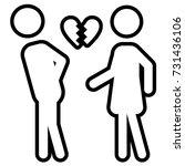broken heart outline icon | Shutterstock .eps vector #731436106