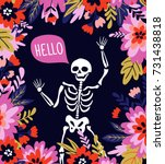 skeleton in the floral frame... | Shutterstock .eps vector #731438818