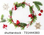 frame with christmas wreath ... | Shutterstock . vector #731444383