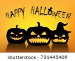 halloween pumpkins silhouettes... | Shutterstock . vector #731445409