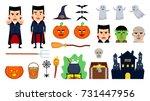 set of different halloween... | Shutterstock .eps vector #731447956