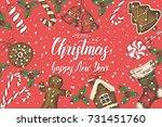 festive christmas background...   Shutterstock .eps vector #731451760