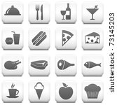 food icon on square black and... | Shutterstock .eps vector #73145203