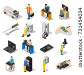 service centre isometric icons... | Shutterstock .eps vector #731454034