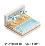 outdoor swimming pool in... | Shutterstock .eps vector #731454844