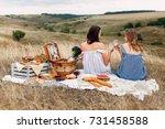 beautiful young girls... | Shutterstock . vector #731458588