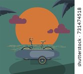 bicycle with surfboard in the... | Shutterstock .eps vector #731474518