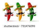 three chilli pepper characters... | Shutterstock .eps vector #731476090