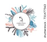 vector frame with hand drawn... | Shutterstock .eps vector #731477563