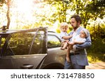 young father with baby and... | Shutterstock . vector #731478850