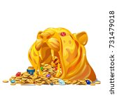 the treasure of jewels and gold ... | Shutterstock .eps vector #731479018