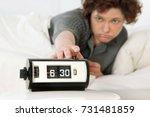 vintage alarm clock set at 6 30 ... | Shutterstock . vector #731481859