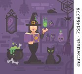 witch in her house studying... | Shutterstock .eps vector #731486779