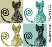 zentangle cat in colors. hand... | Shutterstock .eps vector #731489326