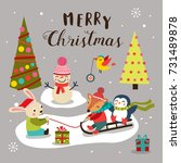 merry christmas background with ... | Shutterstock .eps vector #731489878