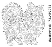 coloring page of pomeranian ... | Shutterstock .eps vector #731491798