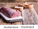 organic pork meat on chopping... | Shutterstock . vector #731491819