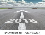 runway of airport with arrow... | Shutterstock . vector #731496214