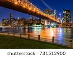 evening view of manhattan... | Shutterstock . vector #731512900
