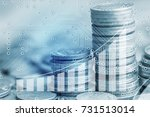 stack of coins and growing... | Shutterstock . vector #731513014