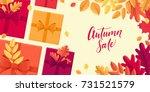 various autumn leaves  gift... | Shutterstock .eps vector #731521579