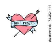 girl power feminist slogan... | Shutterstock .eps vector #731524444