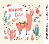 happy lama card with lovely