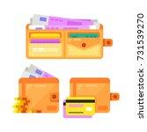 vector open flat wallet with...